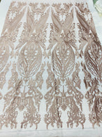 4 Way Stretch Fabric - Blush - Fancy Damask Pattern Sequins Design Fashion Fabric