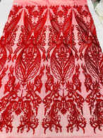 4 Way Stretch Fabric - Red - Fancy Damask Pattern Sequins Design Fashion Fabric
