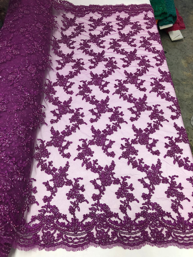 Beaded - Purple - Embroided Small Flower Fabric with Decorated Borders - Sold by The Yard