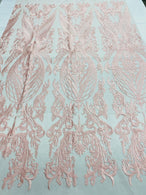 Lace Fabric - Pink - Fancy Damask Pattern Sequins Design Fabric By The Yard