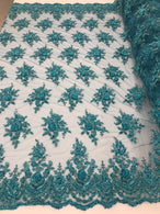 Turquoise Hand Beaded Embroidered Floral Fabric Lace Bridal Wedding Designs By The Yard