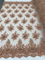 Peach Beaded Embroidered Floral Fabric Lace Bridal Wedding Designs By The Yard