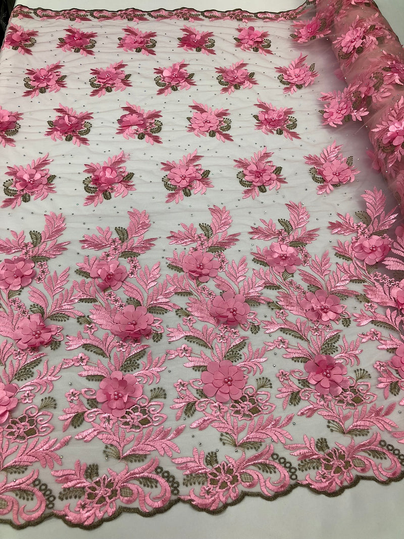 3D Embroided Flower Pattern Fabric with Two Tone Leaf Color - Pink - Elegant 3D Flowers By The Yard
