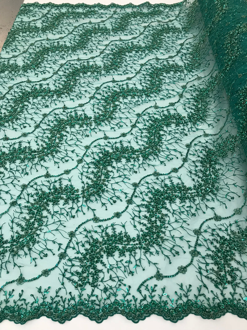 Green - Beaded Embroidery Wavy Flower Pattern Fabric Lace Elegant Dress Fabric By The Yard
