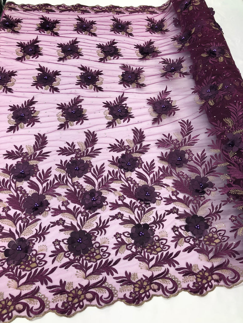 3D Embroided Flower Pattern Fabric with Two Tone Leaf Color Purple - Elegant 3D Flowers By The Yard