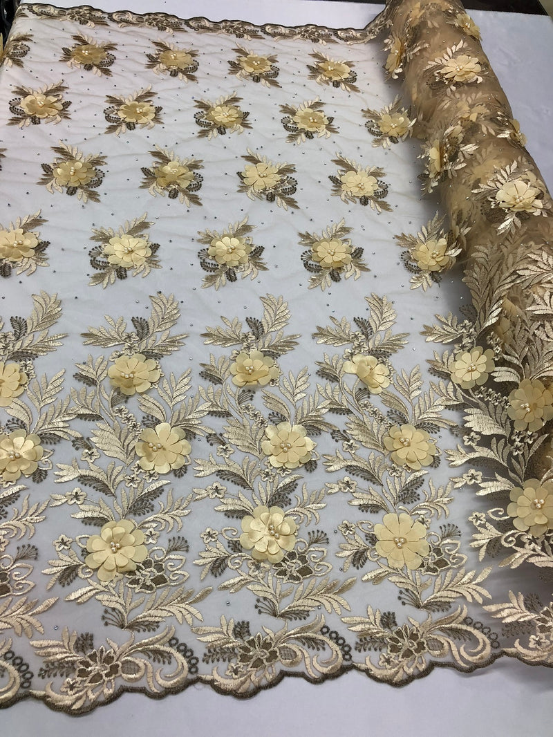 3D Embroided Flower Pattern Fabric with Two Tone Leaf Color Cream - Elegant 3D Flowers By The Yard