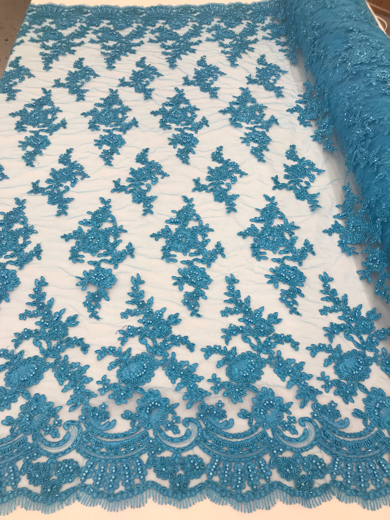 Turquoise - Floral Hand Beaded Embroidered Pattern Bridal Lace Wedding Fabric Sold by The Yard