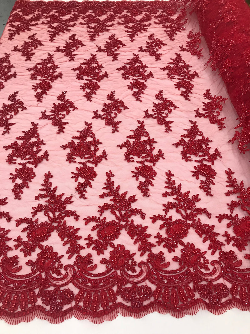 Red - Floral Hand Beaded Embroidered Pattern Bridal Lace Wedding Fabric Sold by The Yard