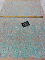 4 Way Stretch Fabric - Iridescent Aqua/ Pink - Sequins Design on Spandex Mesh Fashion Fabric