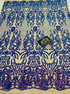 4 Way Stretch Fabric - Iridescent Lavender - Sequins Design on Spandex Mesh Fashion Fabric
