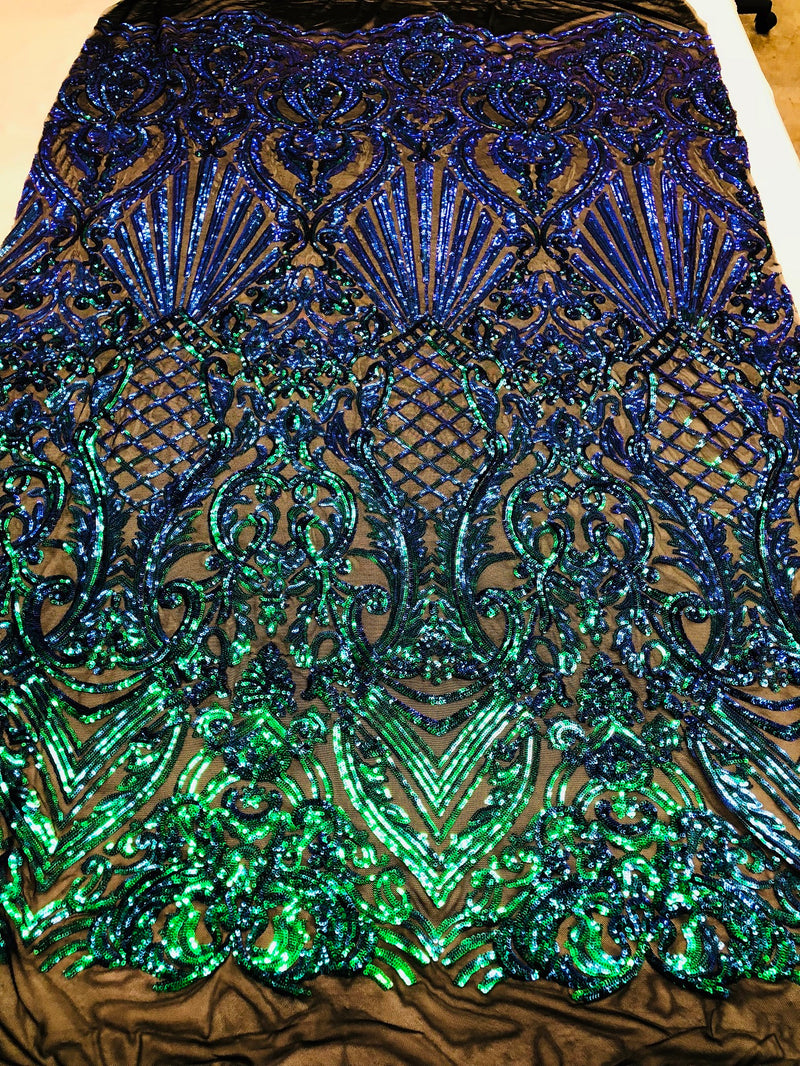 Iridescent - Blue/Green - 4 Way Stretch Sequins Damask Pattern Fabric  - Sold By The Yard