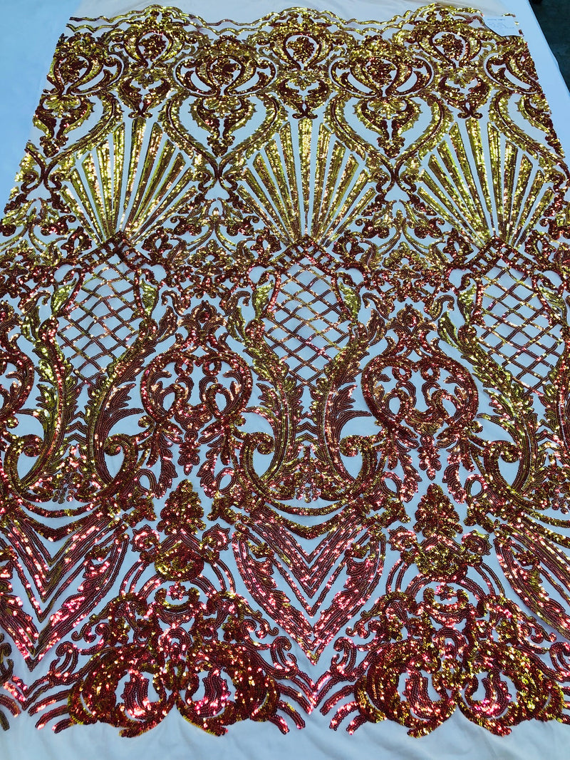 Iridescent - Orange Nude - 4 Way Stretch Sequins Damask Pattern Fabric By Yard