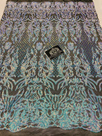 4 Way Stretch Fabric - Iridescent Aqua - Sequins Design on BLACK Spandex Mesh Fashion Fabric