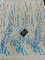 Two Tone - Iridescent Aqua / White - Phoenix Sequins Design on Spandex Mesh Trendy Fabric