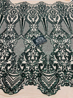 4 Way Stretch Fabric - Hunter Green - Damask Sequins Vintage Design on Nude Spandex Mesh Trend Fabric