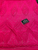 4 Way Stretch Fabric - Hot Pink - Triangle Geometric Sequins Design on Spandex Mesh Fashion Fabric