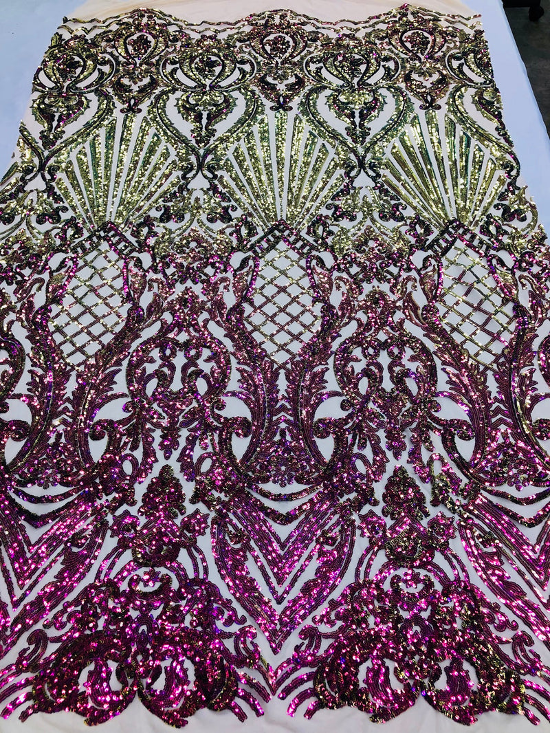 Iridescent - Magenta Gold - 4 Way Stretch Sequins Damask Pattern Fabric  - Sold By The Yard