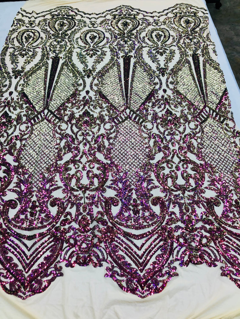 Iridescent - Magenta Gold - 4 Way Stretch Sequins Design Pattern Fabric  - Sold By The Yard