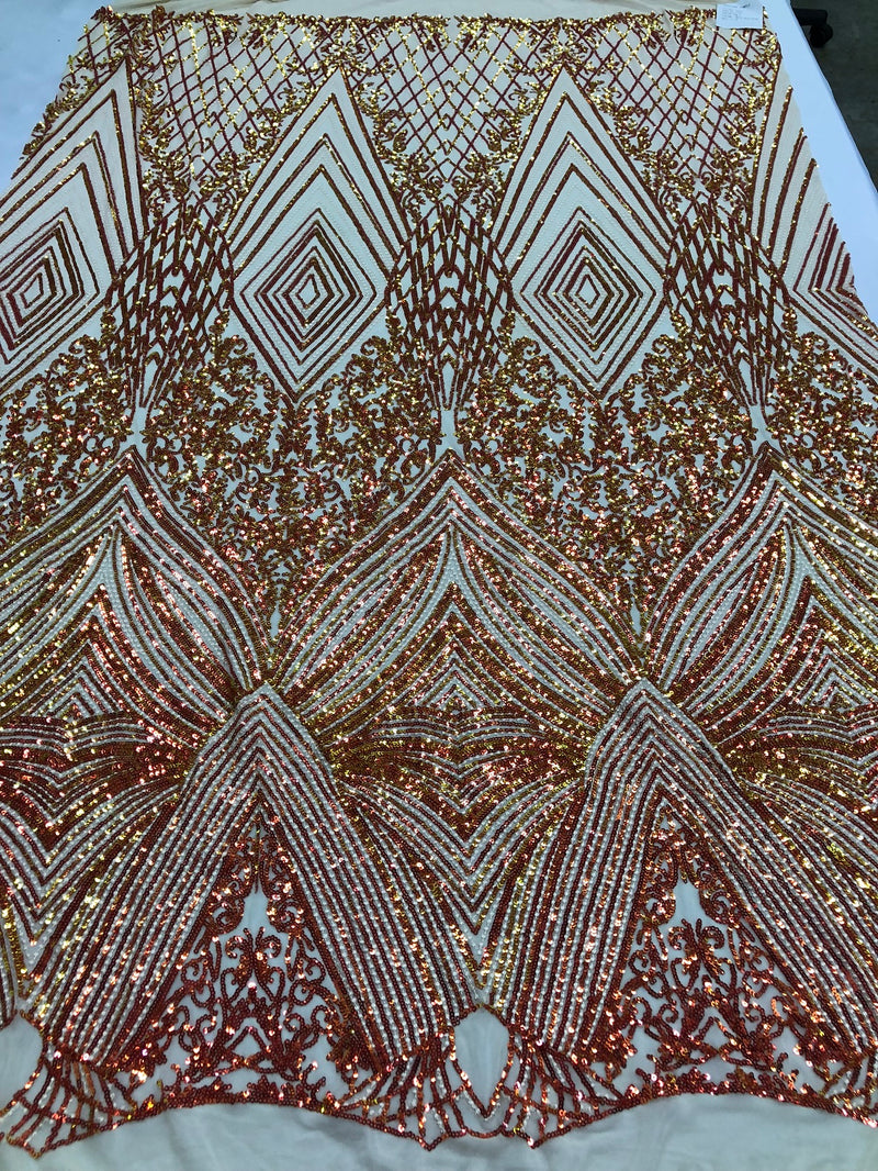 Iridescent - Orange Nude - 4 Way Stretch Sequins Pattern Fabric on Nude Mesh - Sold By The Yard