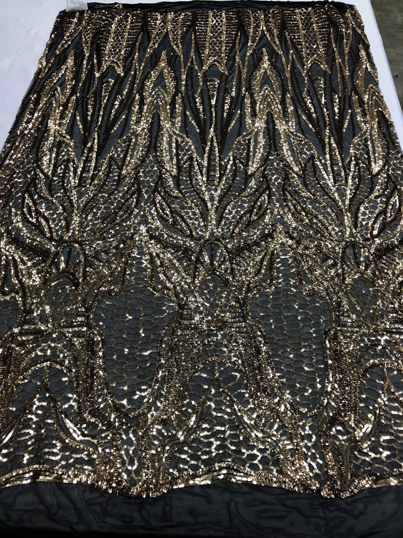 Geometric Line Sequins 4 Way Stretch Fabric - Gold on Black -  Quality Design Fabric By The Yard