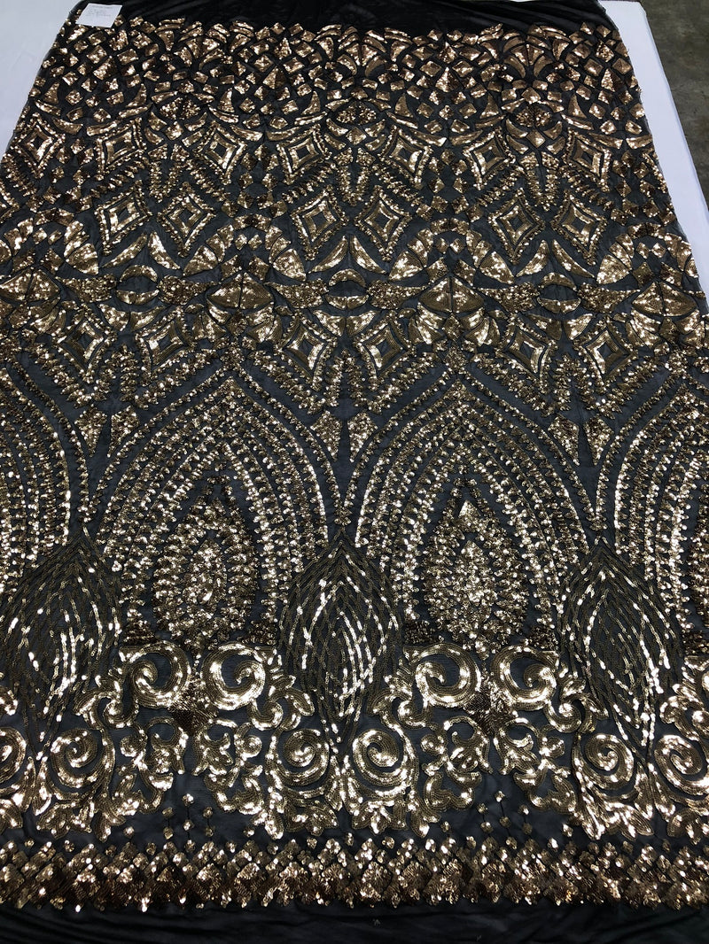 Geometric Patterns 4 Way Stretch Sequins Fabric Gold Shiny Sequins Fashion Design By The Yard