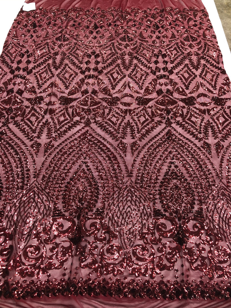 Geometric Patterns 4 Way Stretch Sequins Fabric Burgundy Sequins Fashion Fabric By The Yard