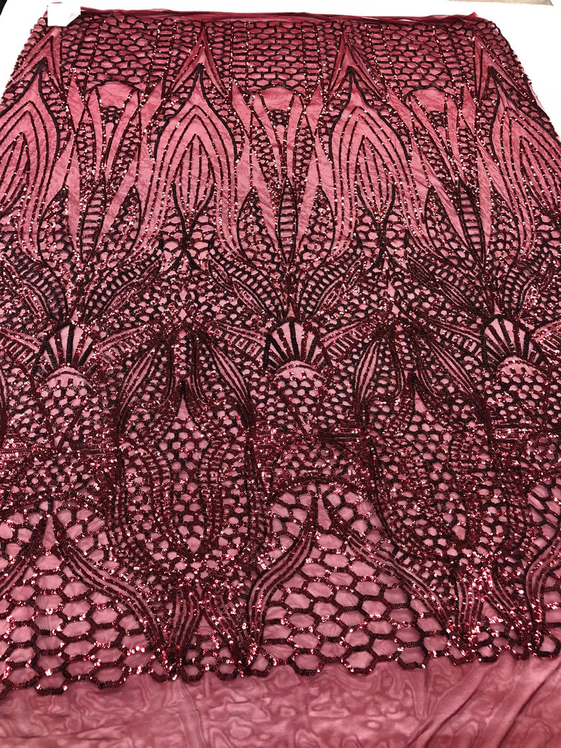 Geometric 4 Way Stretch Sequins Fabric - Burgundy - Sequins Design Fabric Sold by The Yard