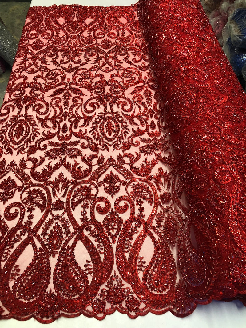 Red Beaded Fabric Embroidered On A Mesh Fancy Dresses Fabric Sold By The Yard