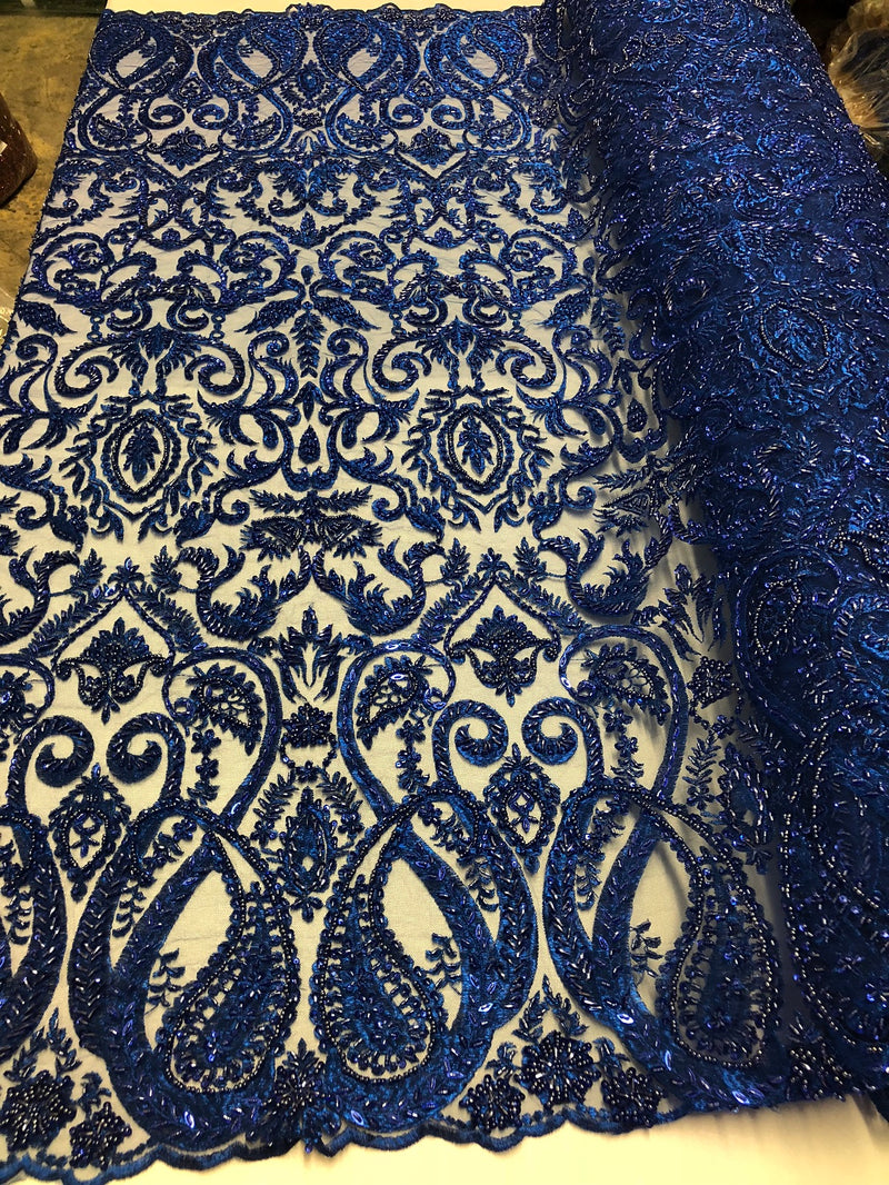 Royal Blue Beaded Fabric Embroidered On A Mesh Fancy Dresses Fabric Sold By The Yard