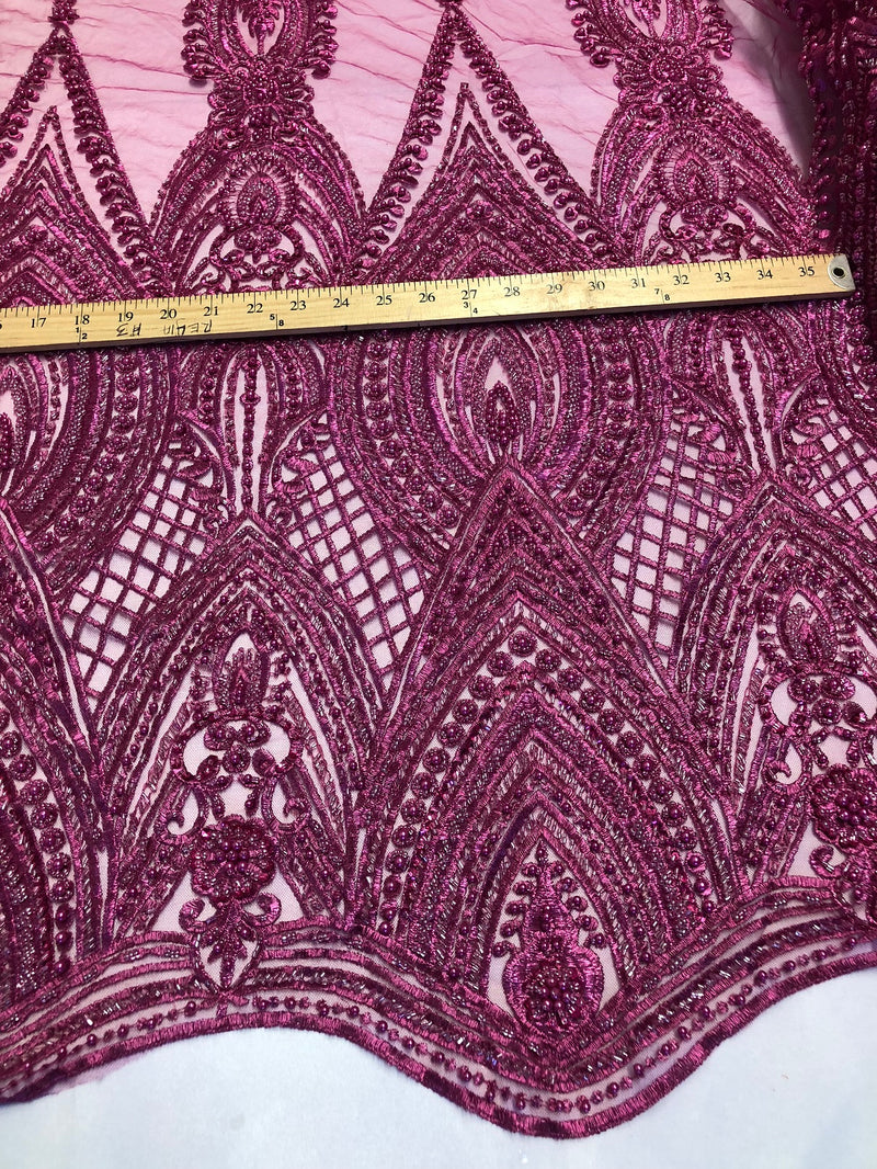 Magenta Beaded Fabric Embroidered Lace Pearls On A Mesh Bridal/Wedding Fabrics Sold By The Yard