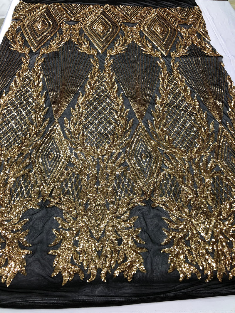 Sequins 4 Way Stretch Shiny Fabric with Triangle Net Pattern - Gold On Black Mesh - Sold by The Yard