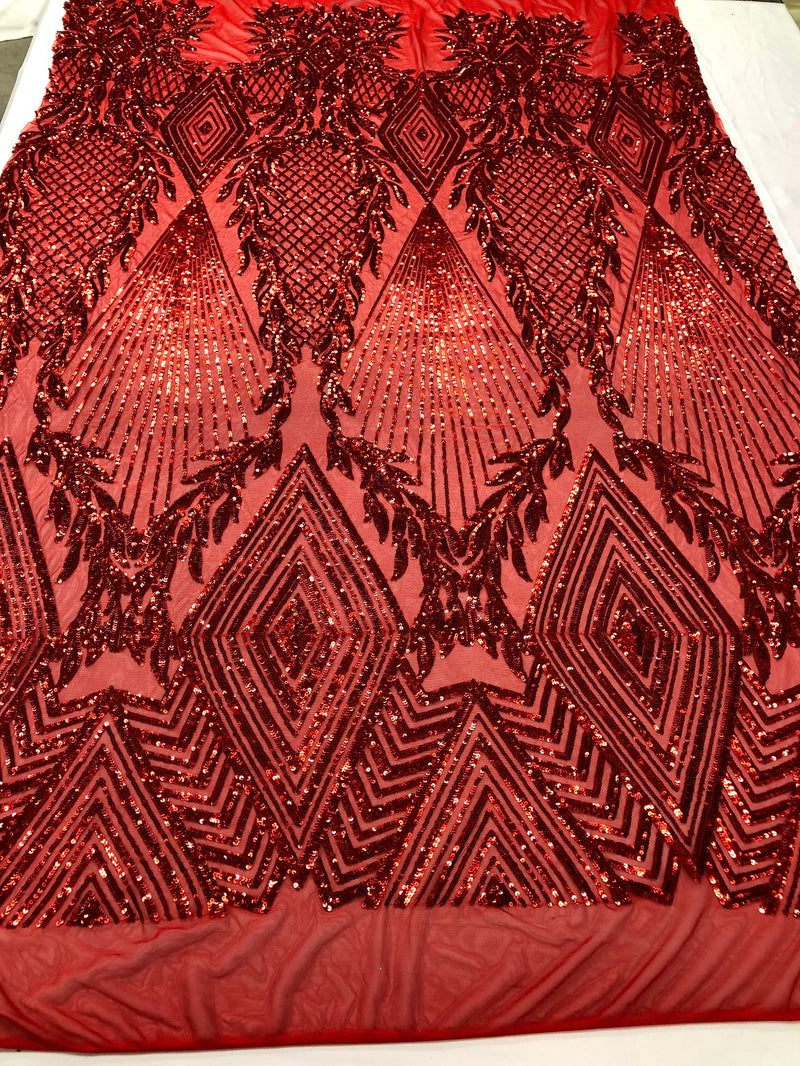 Sequins 4 Way Stretch Shiny Fabric with Triangle Net Pattern - Red - Fabric Sold by The Yard