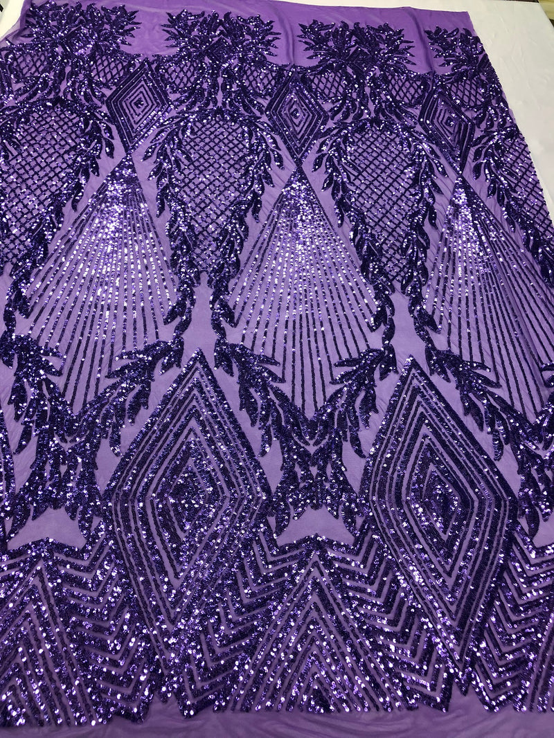 Sequins 4 Way Stretch Shiny Fabric with Triangle Net Pattern - Lilac - Fabric Sold by The Yard