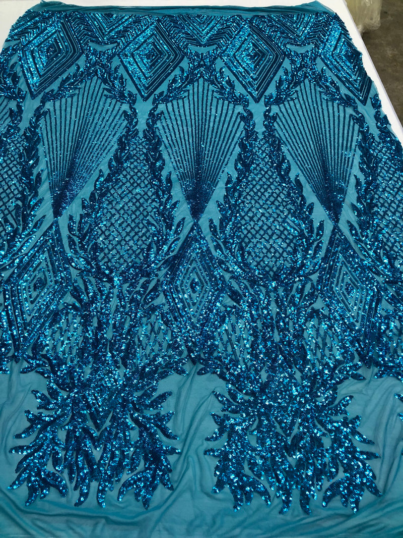 Sequins 4 Way Stretch Shiny Fabric with Triangle Net Pattern - Turquoise  - Fabric Sold by The Yard