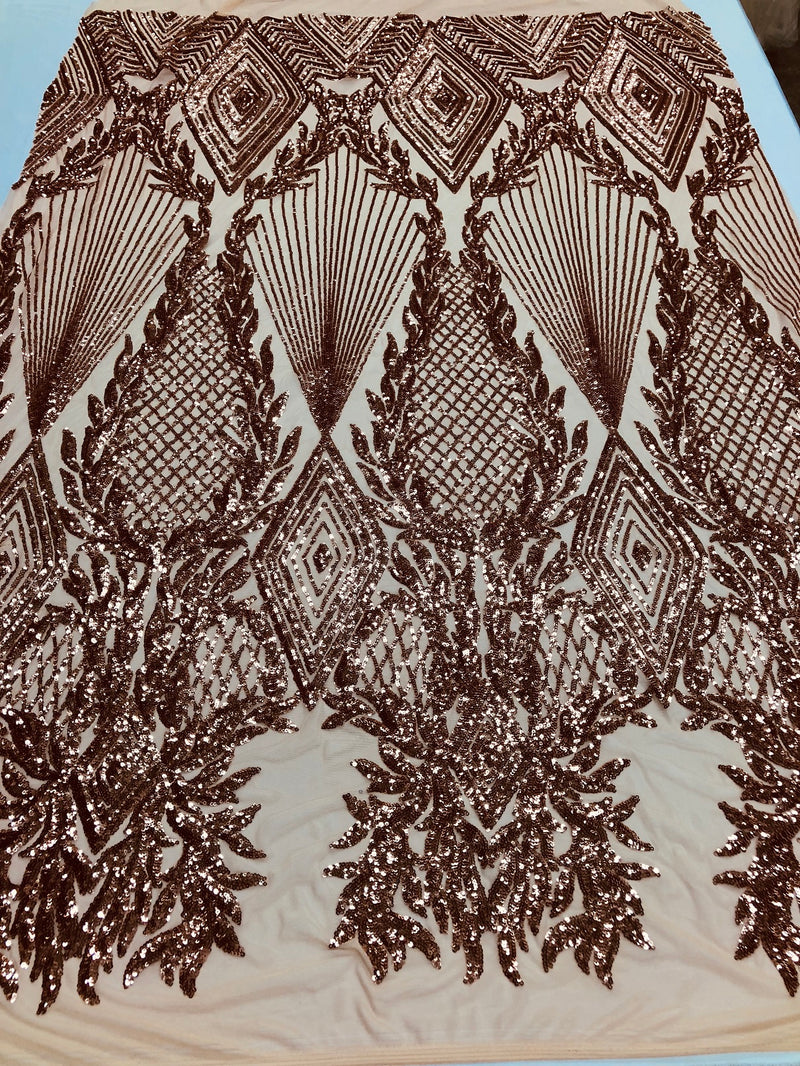 Sequins 4 Way Stretch Shiny Fabric with Triangle Net Pattern - Khaki  - Fabric Sold by The Yard