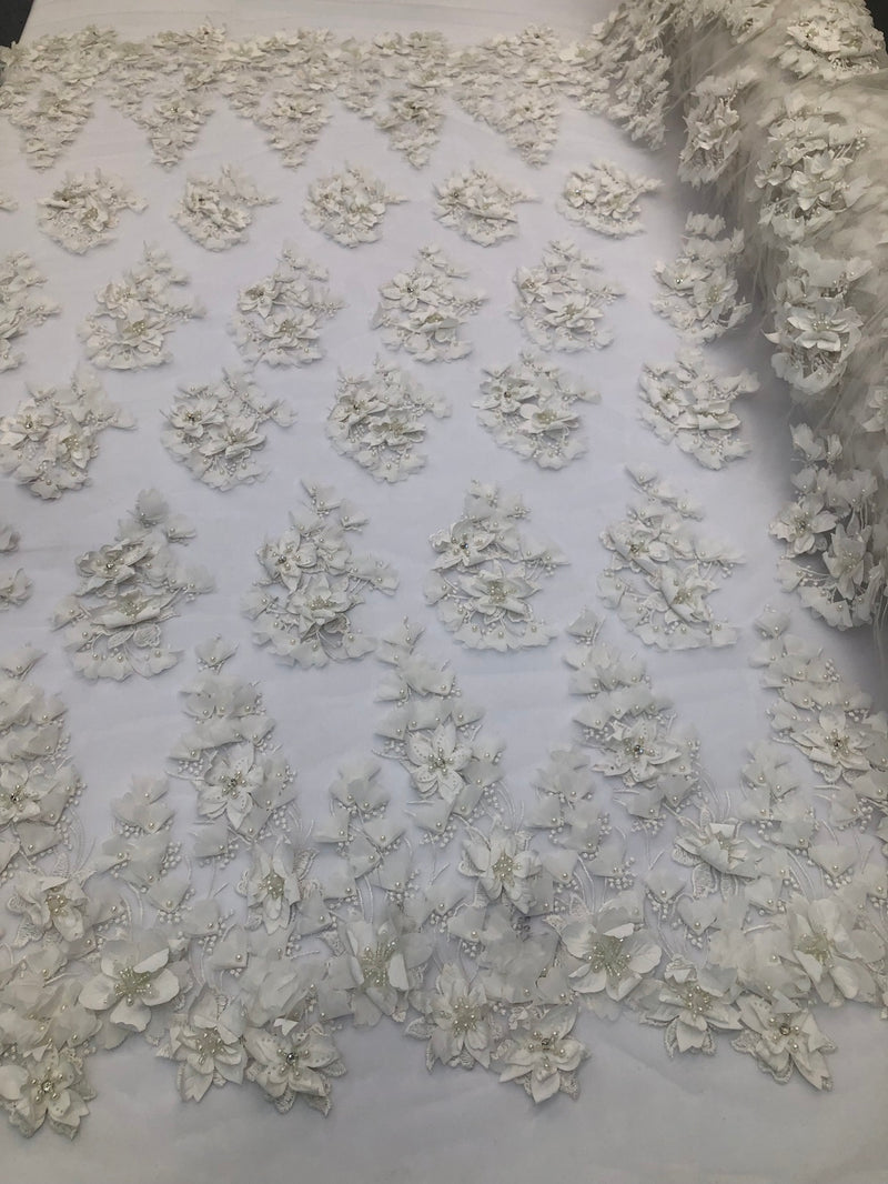 Floral 3D - Ivory Beaded Embroided Pattern with Pearls High Quality Fabric Sold by The Yard