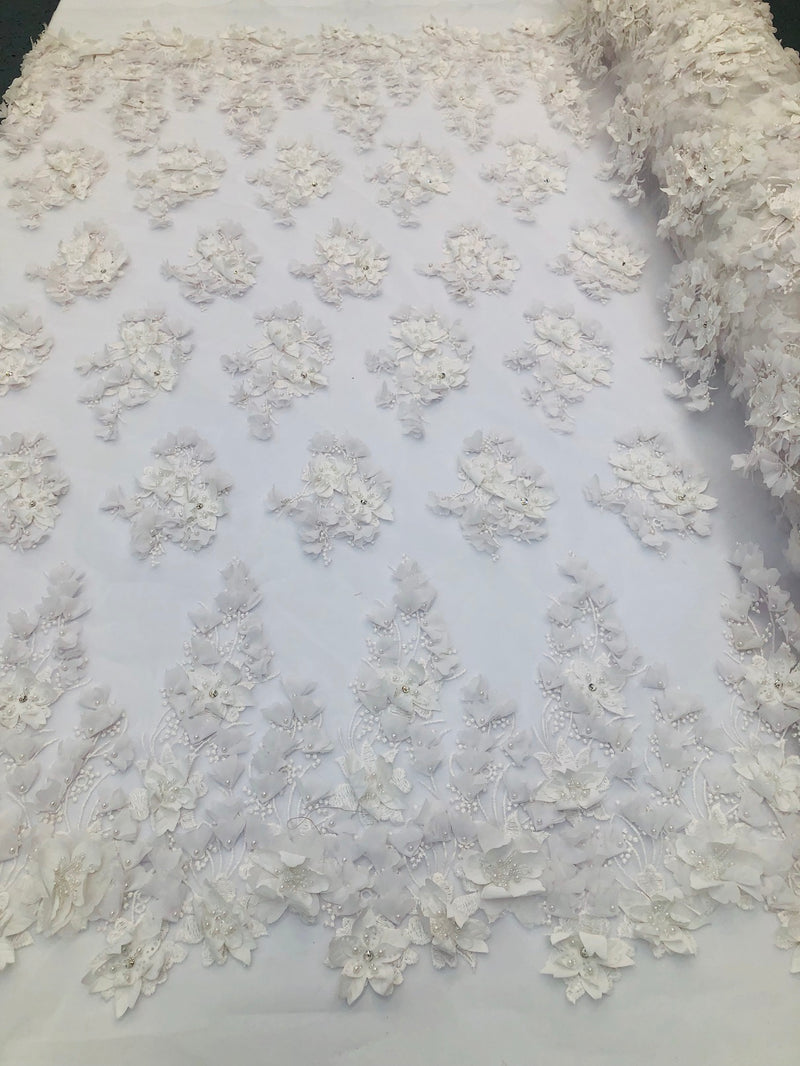 Floral 3D - Off-White Beaded Embroided Pattern with Pearls High Quality Fabric Sold by The Yard