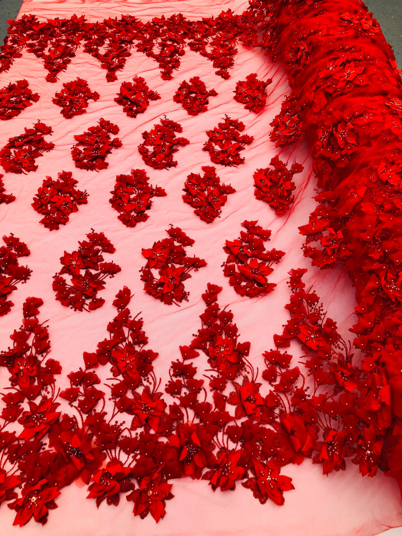 Floral 3D - Red Beaded Embroided Pattern with Pearls High Quality Fabric Sold by The Yard