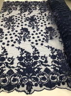 Navy Blue - Mini 3D Flower Embroidered Mesh Sequins And Beaded Fabric Sold By The Yard
