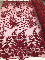Burgundy - Mini 3D Flower Embroidered Mesh Sequins And Beaded Fabric Sold By The Yard