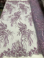 Beaded - Lilac - Elegant Small Flower Pattern Design Sequins Fabric with Beads Sold By The Yard