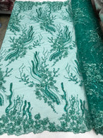Beaded - Jade - Elegant Small Flower Pattern Design Sequins Fabric with Beads Sold By The Yard