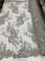 Beaded - Silver - Elegant Small Flower Pattern Design Sequins Fabric with Beads Sold By The Yard