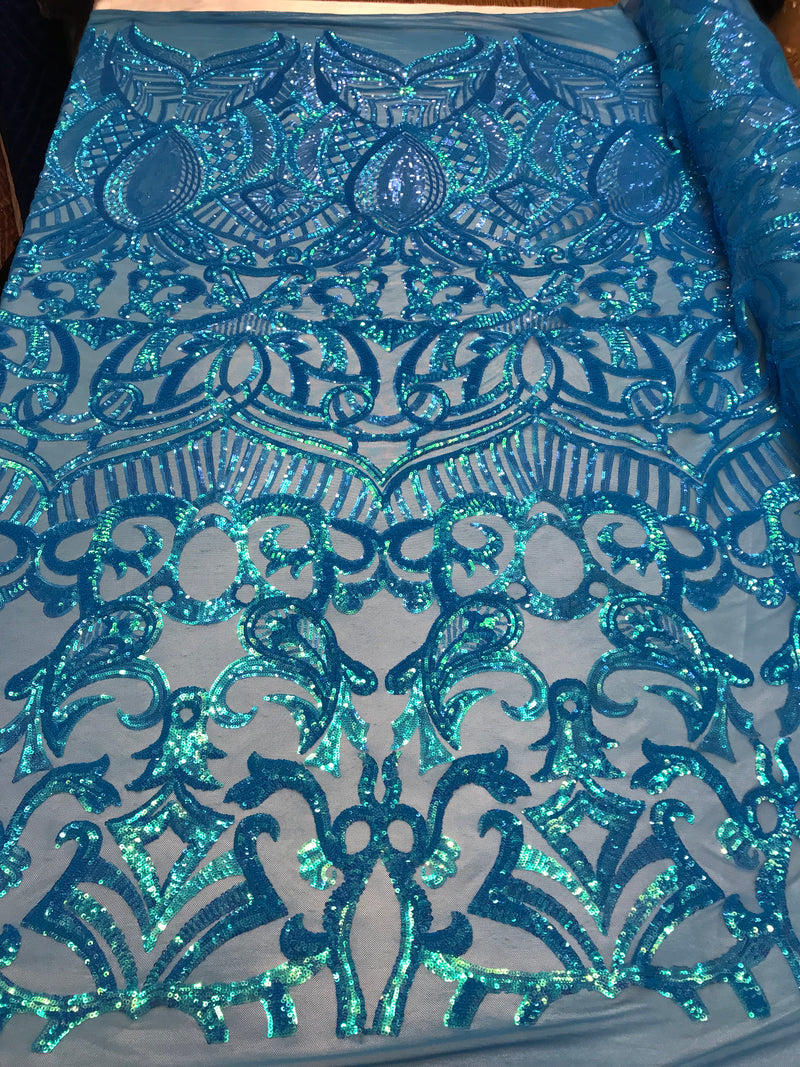 4 Way Stretch - Turquoise - Fancy Sequins Pattern Design on Mesh Fabric Sold By The Yard