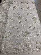 3D Flower Fabric -White - Fancy Embroidered Mesh Sequins Fabric with Beads Sold By The Yard