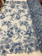 3D Flower Fabric - Baby Blue - Fancy Embroidered Mesh Sequins Fabric with Beads Sold By The Yard