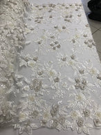 3D Flower Fabric - Ivory - Fancy Embroidered Mesh Sequins Fabric with Beads Sold By The Yard