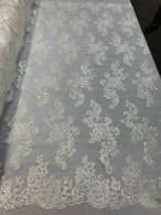 Lace Fabric - Off-White - Flowers Embroidery Sequins Mesh Wedding Bridal Fabric Sold By The Yard
