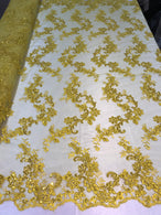 Floral Lace Fabric - Yellow - Flowers Embroidery Sequins Mesh Design Fabric Sold By The Yard