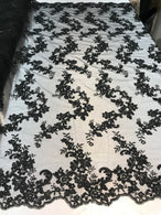 Floral Lace Fabric - Black - Flowers Embroidery Sequins Mesh Design Fabric Sold By The Yard